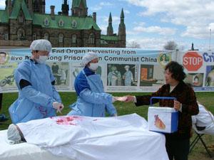 Representación de la extirpación de órganos a practicantes de Falun Gong vivos (The Epoch Times)