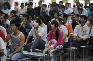 Desempleados de la provincia de Fujian, región industrial antes próspera. Su destino, posibles inmigrantes chinos (Getty Images)