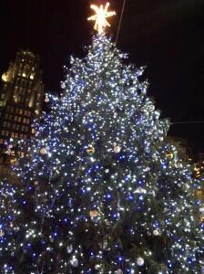 En Bryant Park, este es un arbol inmenso, decorado con luces blancas y azules