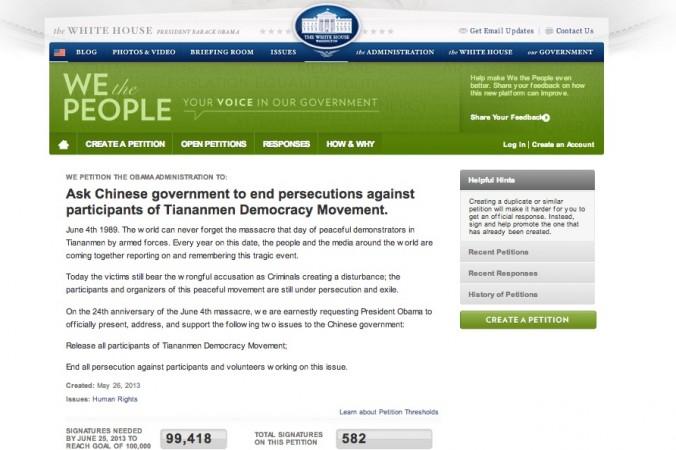 Petición publicada en el sitio web de la Casa Blanca, instando al gobierno de los Estados Unidos a tratar de detener la persecución del régimen chino sobre las personas involucradas en la manifestaciones democráticas de 1989 (Captura de pantalla via Epoch Times)