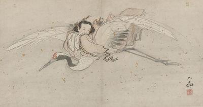He Xiangun volando en su grulla en un cuadro del siglo XVI